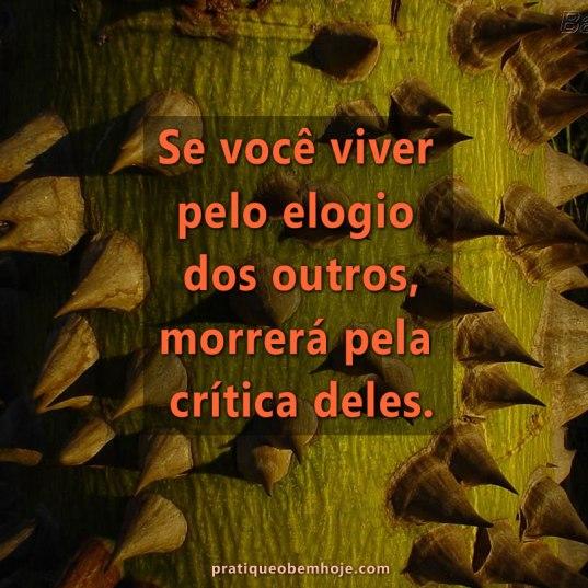 Se você viver pelo elogio dos outros morrerá pela crítica deles